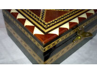wood and bone marquetry box