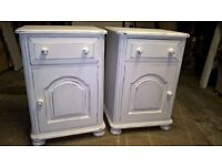 Pair of chunky hand painted Pine bedside cabinets