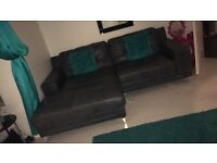 Leather 3 seater & 2 seater futon style sofa