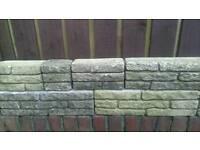 Buff colour dwarf walling, over 60 yards. 6' high.