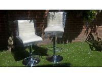 TWO DWELL BAR STOOLS FAUX LEATHER AND CHROME