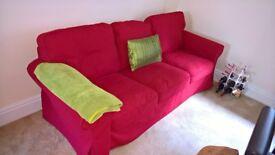 Ikea Ektorp 3 Seat Sofa - Nordvalla Red - Immaculate
