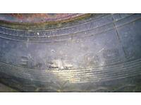"""Original VW beetle steel 15"""" wheel with tyre."""