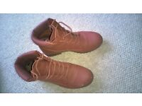 worn ladies shoes size 7 - flat red ankle boots