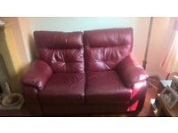 2x Two Seat Red leather sofas