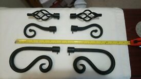 Black iron finials for curtain pole £7