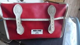 Rare, and hard to find these days: vintage bike saddle bag in red with white trim