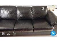 3 seater leather sofa black