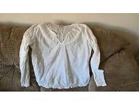 White light weight cotton summer top size 14