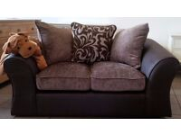 NEW Two Seater Sofa in Chocolate Faux Leather with Brown & Cream Cushions