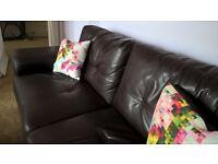 3 seater bi-cast leather espresso sofa,good condition