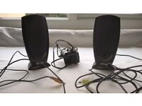DELL PC SPEAKERS AND MAINS ADAPTOR - EXCELLENT CONDITION