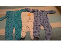 3 fleece baby grows size 9-12 months