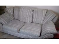 Pale cream and green sofa *COLLECTION ONLY*