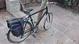 """Claud Butler Legend Hybrid Bike (23"""", Slick Black, Excellent Condition, Inc. Panniers)"""