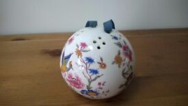 Vintage Hammersley Bone China Pomander with hand painted bird of paradise