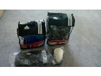 Adidas head guard (M) and Safety kicks (L) + Blitz shin pads and groin guard (L)