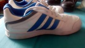 White / Blue Adidas trainers (size 5)