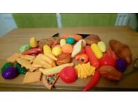 Mixed set of toy food items