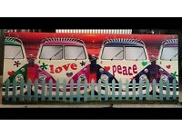 Pink/blue Love & peace canvas camper van print