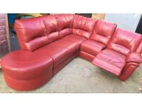 Red leather right handed recliner corner sofa fabulous condition