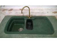 Twin sink bowl and drainer with taps