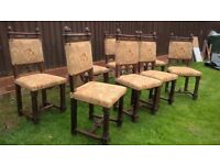 English Oak Original Antique Chairs (8no)-Fantastic Condition