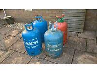 3 x 15kg Calor Gas bottles, 1 x 13kg Colorama patio gas bottle and gas barbeque