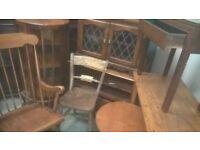 Antique old solid oak furniture job lot of 8 items for restoring projet needs tlc delivery avalible