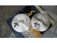 """k zildjian 14""""hi hat cymbals , new"""