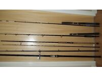 Various rods for sale, including 2 boat, 2 beach casters, and 2 river/lake rods