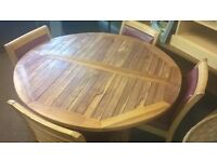 garden / patio solid wood extendable table & 4 ladder back chairs delivery available