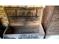 Antique wooden teak tool chest