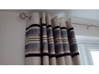 Grey, black and cream lined curtains