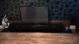 TV Unit - Black/Walnut with LED Lighting