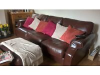 2 x Brown Leather Sofa. 3 seater and 2 seater. Good condition.