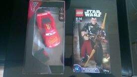 star wars rogue 1 lego Chirrut Îmwe characture + cars remote control lightening mcqueen toy bundle