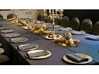 Wedding event styling decor stock sale (linen, centrepieces, chair sashes, accessories etc)