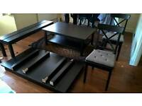 Extendable table bench and chairs with coffee table