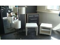 2 White Ikea Tables and 2 lamps