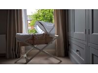 Mamas & Papas Moses Basket & Ivory Wooden Stand