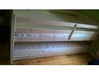Bunkbed with under-bed trundle and mattresses (from Argos). White. Sleeps 3
