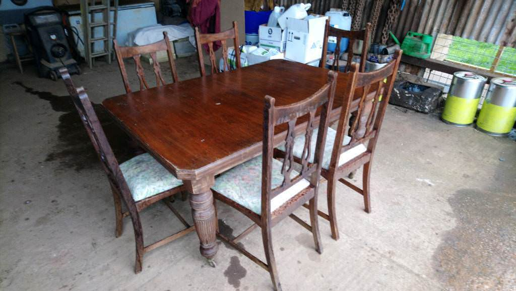 Oak Antique Farmhouse Dining Table Casters Wind Out With 6 Chairs