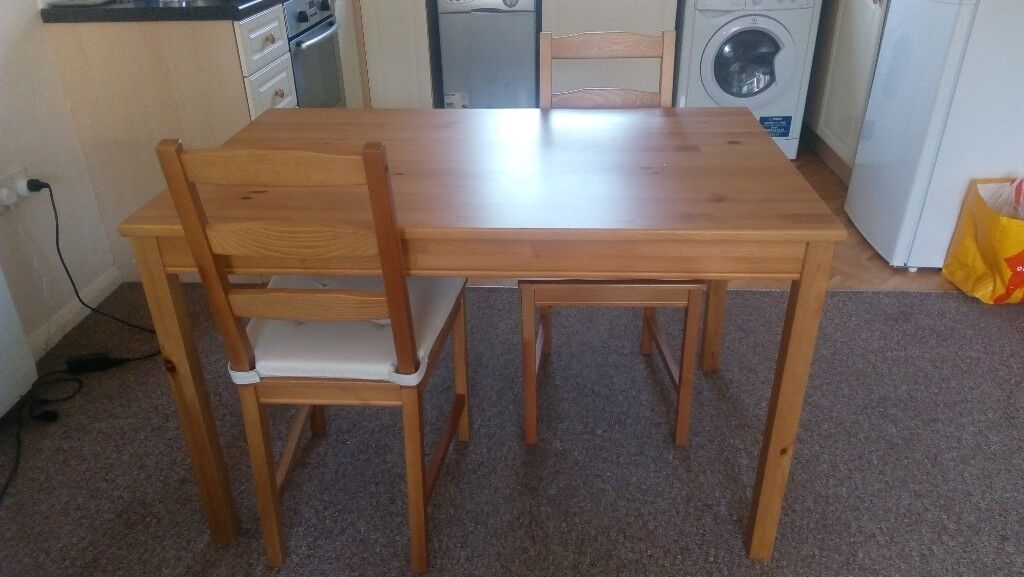 Solid Pine Dining Table 4 Chairs With Cushions Ikea