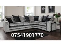 THIS WEEK SPECIAL OFFER RIVA CRUSHED VELVET CORNER SOFA FREE DELIVERY