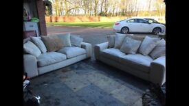 Leather cream suite 3 and 2 seater with scatter cushions cost 3k 15 nth old Read full advert