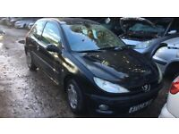 2002 Peugeot 206 LX Auto 3dr 1.4 Petrol Black BREAKING FOR SPARES