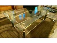 GLASS COFFEE TABLE GOLD/BLACK