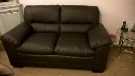 Pair of 2 seater brown leather sofa's