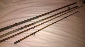 x2 old large split cane fishing rods